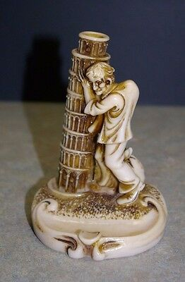 "Vintage 'hunchback Leaning Tower Of Pisa' 5"" Tall Ivorex Style Resin Ashtray"