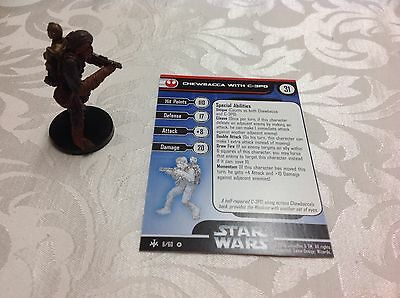 Star Wars Miniature with stat card ultra rare Chewbacca with C-3PO #6