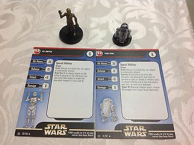 Star Wars Miniatures with stat card C 3PO and R2D2 02 and 14 of 60