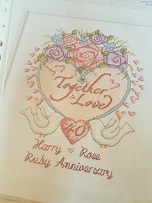 Cross Stitch Chart - Ruby 40th Wedding Anniversary Sampler (Chart Only)