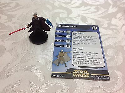 Star Wars Miniature with stat card ultra rare Count Dooku 33/60