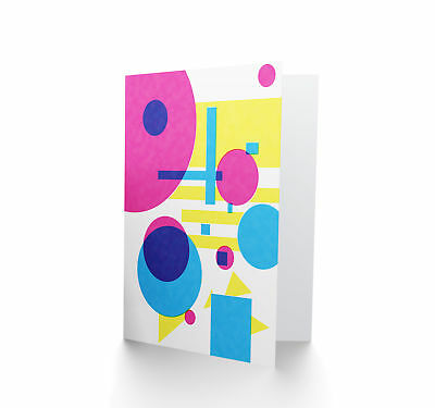 Minimalist Abstract Geometric Shapes Bright  Blank Greeting Card CP3324