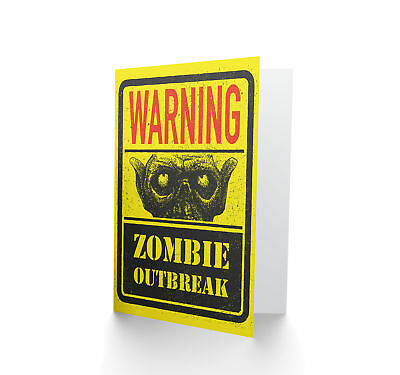 Zombie Outbreak Warning Blank Greeting Card CP3345