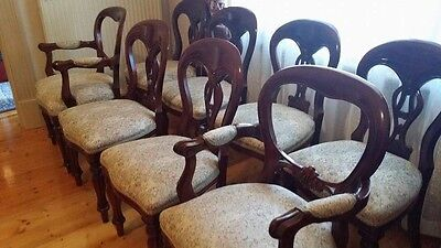 Set 8 Antique Reproduction Mahogany Dining Chairs; Lovely Carving!