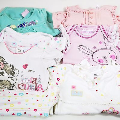 Bundle Newborn Small Baby Girls Pink Disney Next Frilly Bodysuit Rompersuit Vest