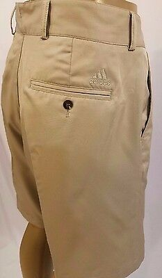 Mens Adidas Golf Flat Shorts Size 36 Polyester Beige Climalite