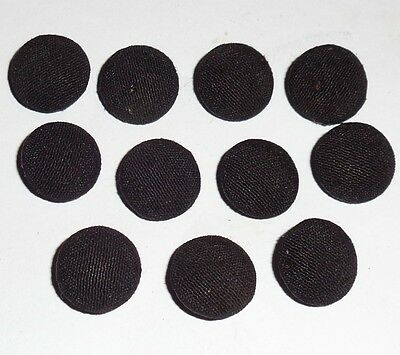 Antique Victorian Job Lot x 11 Fabric Covered Mourning Buttons 14mm