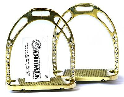 Jinn Stirrups Horse Riding Equestrian Brass Golden With 44 Crystals From Amidale