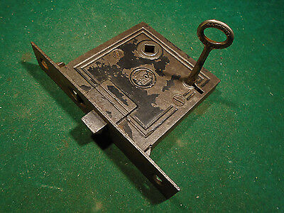EARLY READING HARDWARE (R.H.C.) MORTISE LOCK w/ KEY - RECONDITIONED! (7868)