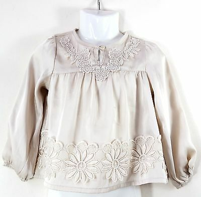 Baby Girls Mothercare Cream Satin Style Flower Embroidered Top Age 18-24 Months