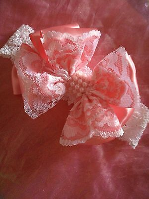 Pretty Lace Headband Salmon Pink  Bow With  White Lace & Pearl Trim Baby/reborn