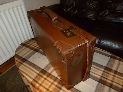 Vintage Brown Leather Suitcase Great for Window Display or Classic Car Prop