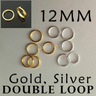 Silver Double Loop 1.2cm Open Jump Rings Split Key Ring Keychain Round 12mm DIY