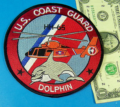U.S. COAST GUARD USCG HH-65 DOLPHIN HELICOPTER PATCH Red Great Colors 5 Inches