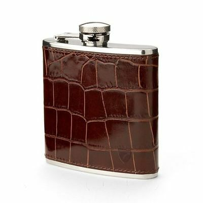 Aspinal of London Classic Leather Hip Flask. Amazon Brown. Marcus Embossed.