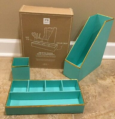 NEW 4PC Pottery Barn Teen Printed Paper Desk Accessories Set AQUA + GOLD TRIM