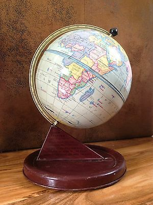 Vintage Mid Century Tin Plate Toy Chad Valley World Map Desk Globe 1950's 1960's