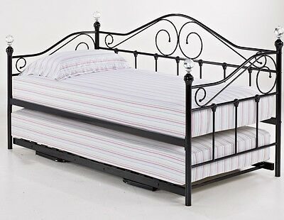 Florence 3ft Single Metal Bed Frame Guest Bed Crystal Finials Optional Trundle