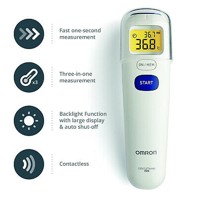 Omron Gentle Temp 720 Contactless Forehead Baby Digital Backlit Thermometer New