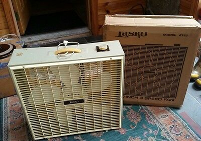 "Vintage Lasko Model 4713 3-Speed 20"" Portable Box Fan w/ Box"