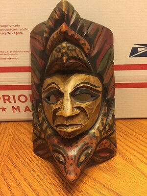 Antique Mexican/central American Hand Carved Wood Mask Eagle Turtle Wall Hanging