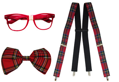 Bow Tie Orange Geek Nerd Bowtie Fancy Dress Costume w// Glasses Braces