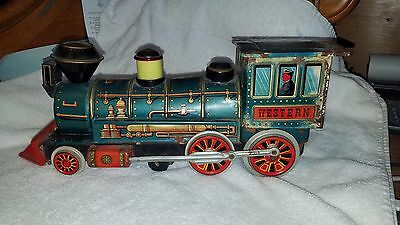 "Tin Litho Train Battery Operated ""WESTERN"" Locomotive ~ Modern Toys Japan"