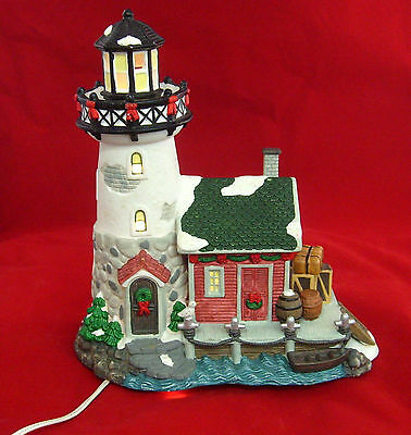 Christmas Village Lighted Winter Scene Ceramic Lighthouse