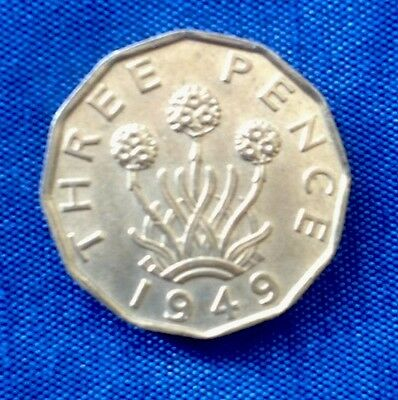 George VI 1949 Brass Threepence, Uncirculated With About 90% Lustre