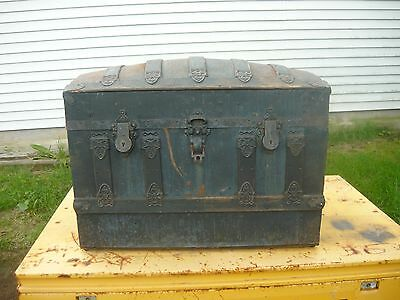 Antique Vintage Wooden Tin Steamer Trunk