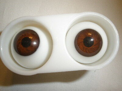Vintage NOS Glasaugen Glass Doll Eyes -18 mm W. Germany  - Brown - in case