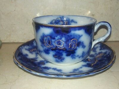 Devon Alfred Meakin Flow Blue Teacup Cup Saucer ENGLAND With Gold White