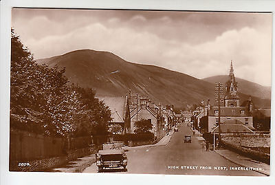 Peeblesshire: High Street from West, Innerleithen - Cars - Edwards RP PC (1338)