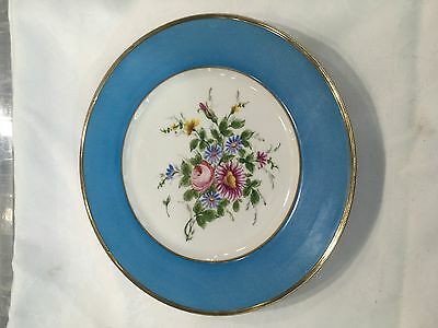 Hand Painted French Sevres Style  Plates With Continental Silver Rim 27Cm