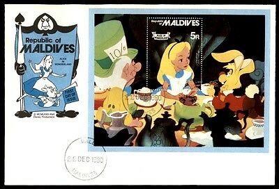 Maldives Alice in Wonderland December 22, 1980 first day with cachet cover