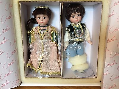 "Romeo & Juliet, Marie Osmond porcelain 7"" dolls, Little Loves, NIB"