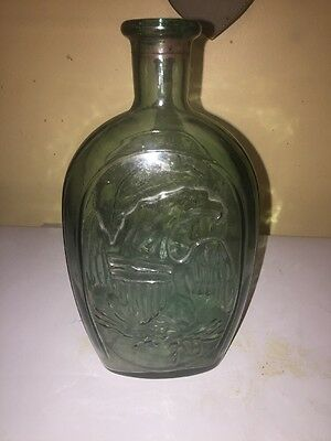 """Vintage Reproduction """"American Eagle & Lady Liberty"""" Green Flask Form Bottle"""