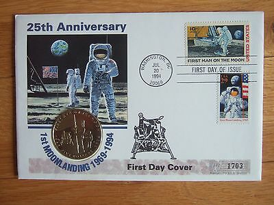 United States 1994 Moon Landing Anniv First Day Cover Inc $5 Marshall Isl Crown