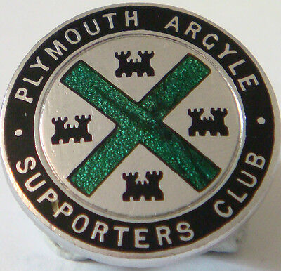 PLYMOUTH ARGYLE FC Vintage SUPPORTERS CLUB badge Button hole fitting 20mm Dia