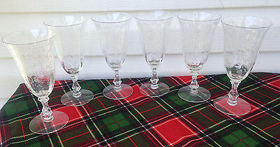 Cambridge Rose Point (6) Water Goblets Glasses