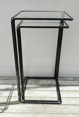 vintage minimalistic glass side nesting tables