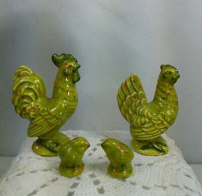 Vtg 70's Ceramic Art Country Hippy Rooster Hen 2 CHICKS Family Mini Figurines