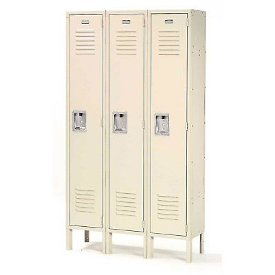 Single Tier Locker, 12x12x60 3 Door, RTA, Tan, Lot of 1