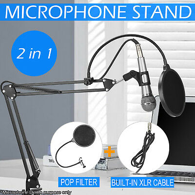 Microphone Stand Studio Broadcast Mic Desktop Suspension Boom Scissor Arm Holder