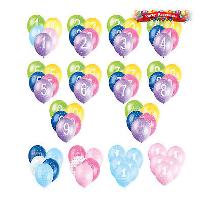 """12"""" LATEX BIRTHDAY BALLOONS mixed colours, number ages, candle or confetti print"""