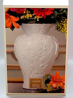 "New Lenox Porcelain 16"" Oversized Large Vase 24kt Gold Trim Wedding House Gift"