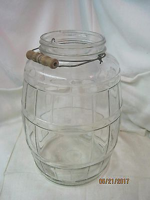 Vintage large glass Barrel Jar with with bail Wooden handle