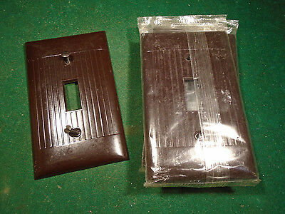 Vintage Bakelite Toggle Switch Plate Cover - Brown Nos Mid Century!  (8627)