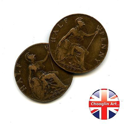 A pair of 1917 British GEORGE V HALFPENNY Coins, 100 Years Old!
