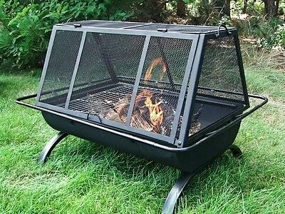 """Northland Grill Fire Pit By Sunnydaze With Vinyl Cover And Tool 35""""x26""""x26"""""""